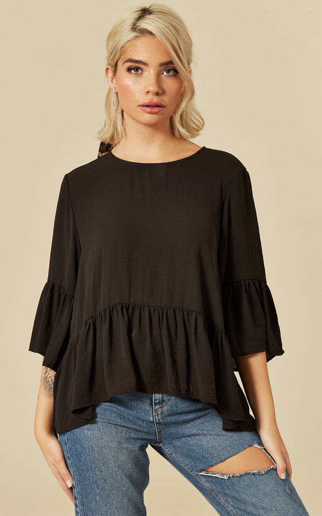 Black 3/4 Flared Sleeve Top by VM