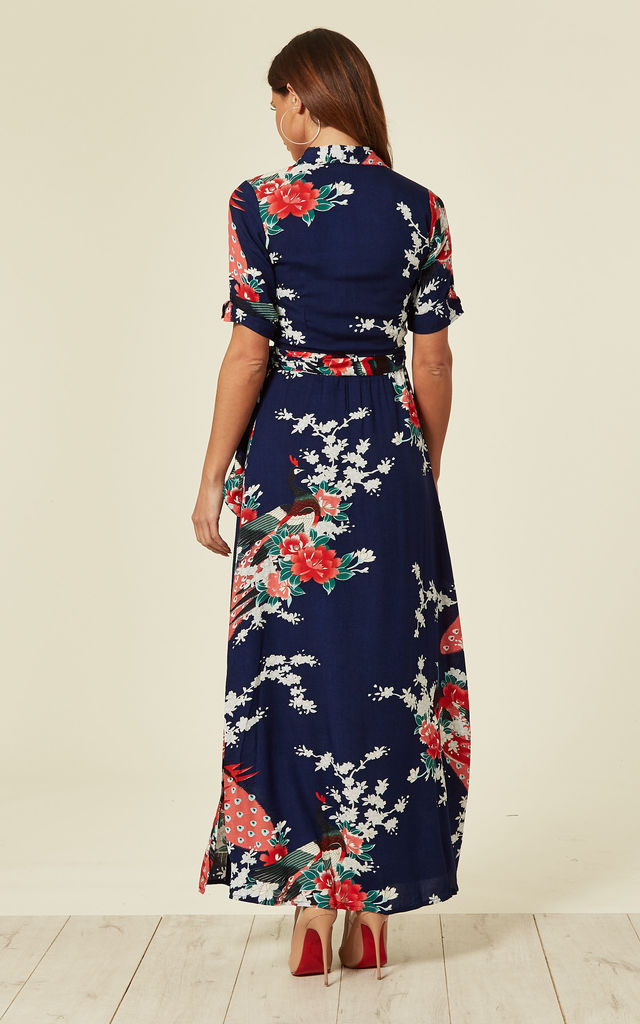f6cab49785 Vintage Wrap Maxi Dress Eastern Peacock Navy by Ruby Rocks
