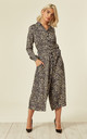 Leopard Print Culotte Shirt Jumpsuit Grey by Ruby Rocks