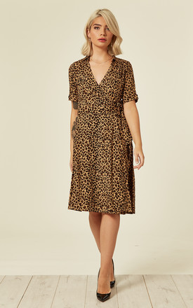 Leopard Print Dark Camel Shirt Wrap Dress by Ruby Rocks