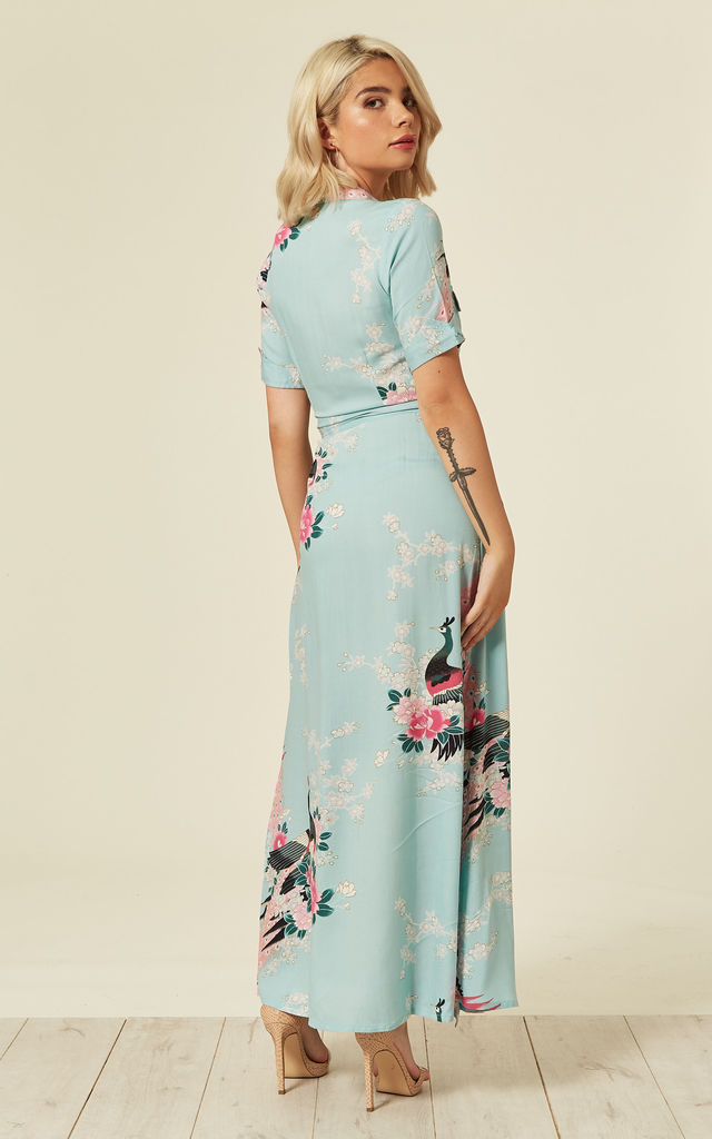 Vintage Wrap Maxi Dress Eastern Peacock Duckegg Blue by Ruby Rocks
