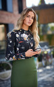 Long Sleeve Blouse in Black Floral Print by MOE