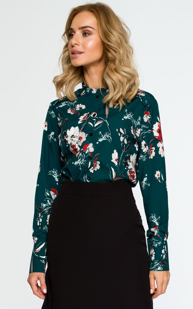 Long Sleeve Blouse in Green Floral Print by MOE