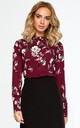 Long Sleeve Blouse in Maroon Floral Print by MOE
