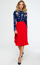 Long Sleeve Blouse in Navy Floral Print by MOE