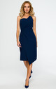 Navy blue dress with pencil cut asymmetric front by MOE