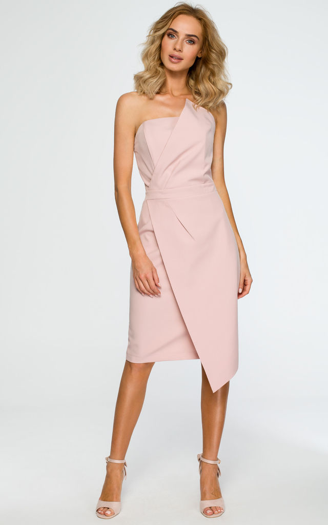 Pink dress with pencil cut asymmetric front by MOE