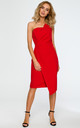 Red dress with pencil cut asymmetric front by MOE