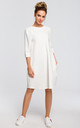 Oversized midi shift dress with pockets in white by MOE