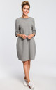 Oversized midi shift dress with pockets in grey by MOE
