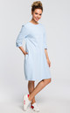 Oversized midi shift dress with pockets in light blue by MOE