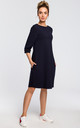 Oversized midi shift dress with pockets in navy blue by MOE