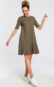 Mini skater dress with ruffle hem in khaki by MOE