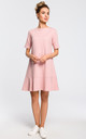 Mini skater dress with ruffle hem in pink by MOE