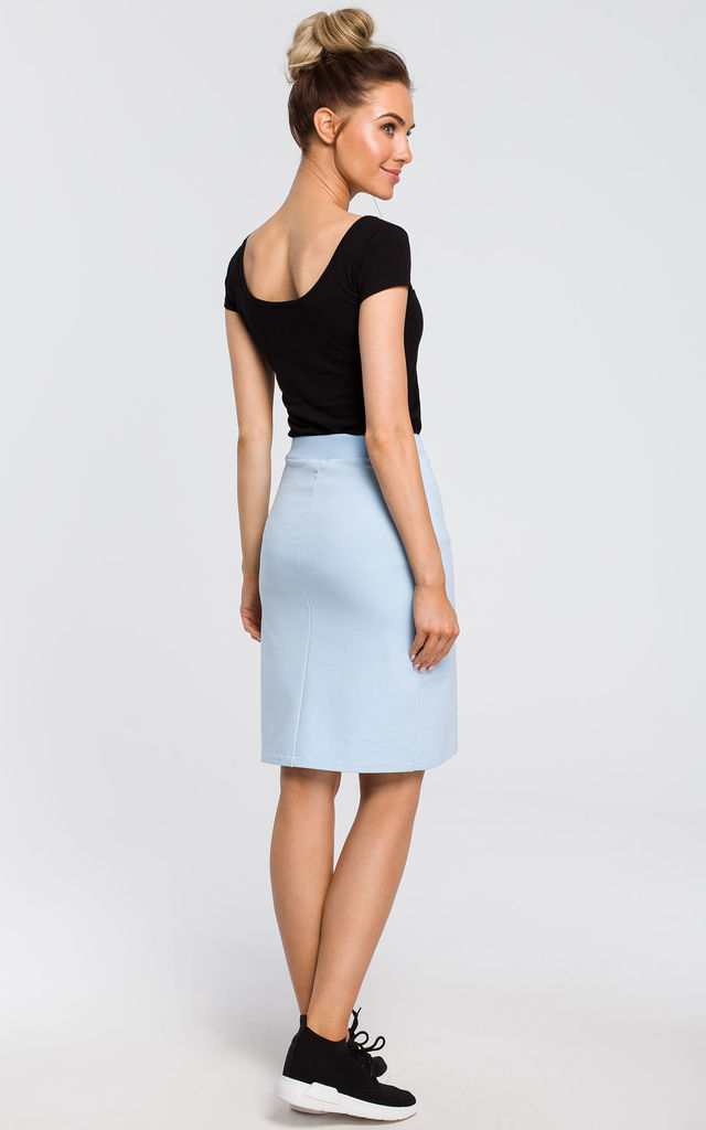 Light blue mini bodycon skirt by MOE