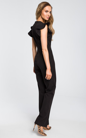 Tailored jumpsuit with frill sleeves in black by MOE