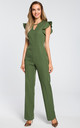 Tailored jumpsuit with frill sleeves in khaki by MOE