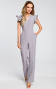 Tailored jumpsuit with frill sleeves in grey by MOE