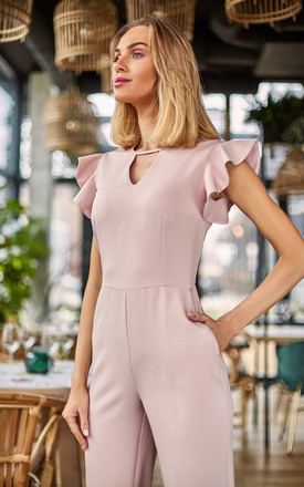 Tailored jumpsuit with frill sleeves in pink by MOE