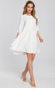 Loose tunic mini dress in white by MOE