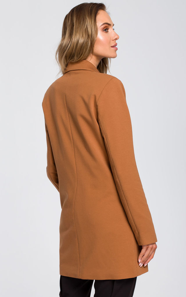 Long double-breasted blazer jacket in brown by MOE
