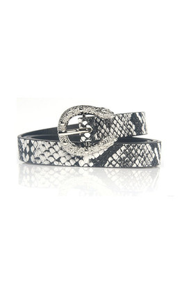 Vanessa Faux Snake Print Belt with Snake Buckle by Ajouter Store