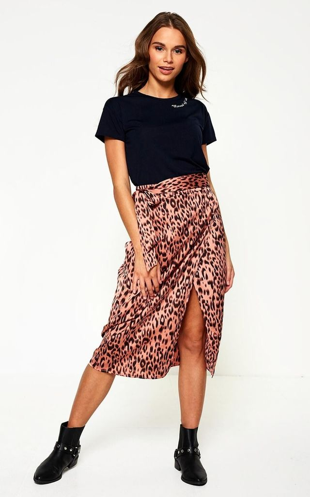 RICA ANIMAL PRINT MIDI SKIRT IN BLUSH by Marc Angelo
