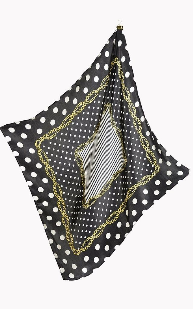 Black Chain Silk Square Scarf by Nautical and Nice Ltd
