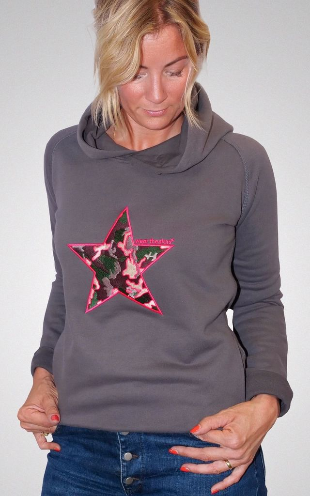 Meet our Dark Grey Hoodie with Camo embroidered Star by Wear the Stars