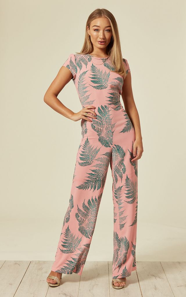 The Jump In Wide Leg Palm Print Jumpsuit in Pink & Green by Once Upon a Time