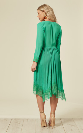 Green Lace Pleat Midi Dress With Long Sleeves by DIVINE GRACE
