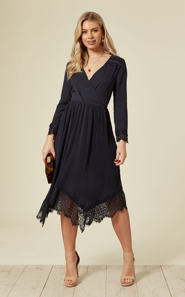 a7a867b9634 Navy Lace Pleat Midi Dress With Long Sleeves by DIVINE GRACE