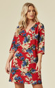 Millie Floral Mini Dress in Red by Traffic People