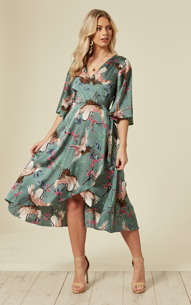Wrap Midi Dress In Green Floral Print by Liquorish Product photo