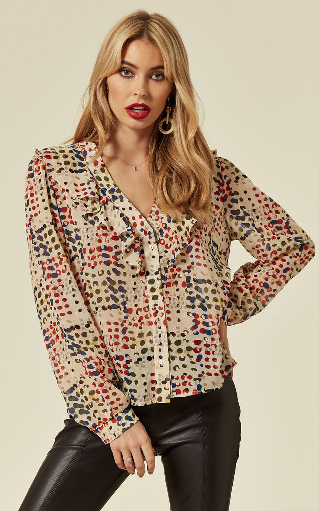 Millie Polka Dot Top in Cream by Traffic People