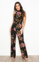 Kady Floral High Neck Sleeveless Jumpsuit Black Print by Girl In Mind