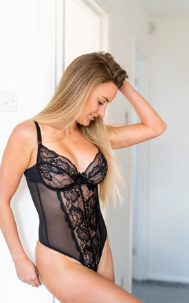 Fuller Bust Black Underwired Lace Body DD-G Cup by Ivory Rose Lingerie