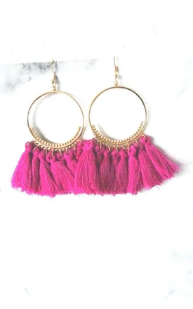 Pink Tassel Hoop Pierced Earrings by Olivia Divine Jewellery