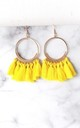 Yellow Tassel Hoop Pierced Earrings by Olivia Divine Jewellery