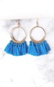 Blue Tassel Hoop Pierced Earrings by Olivia Divine Jewellery