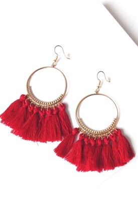 Red Tassel Hoop Earrings by Olivia Divine Jewellery