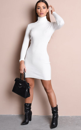 Roll neck ribbed knit jumper dress cream by LILY LULU FASHION
