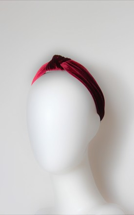 Red wine velvet turban knot headband wedding guest by Kate Coleman