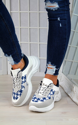 Blue Chunky Knit Trainers by Larena Fashion