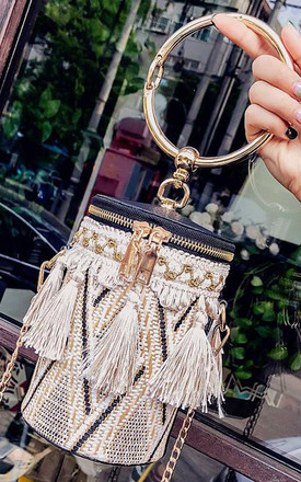 Straw tassel round bucket basket ring handbag by Hello Handbag