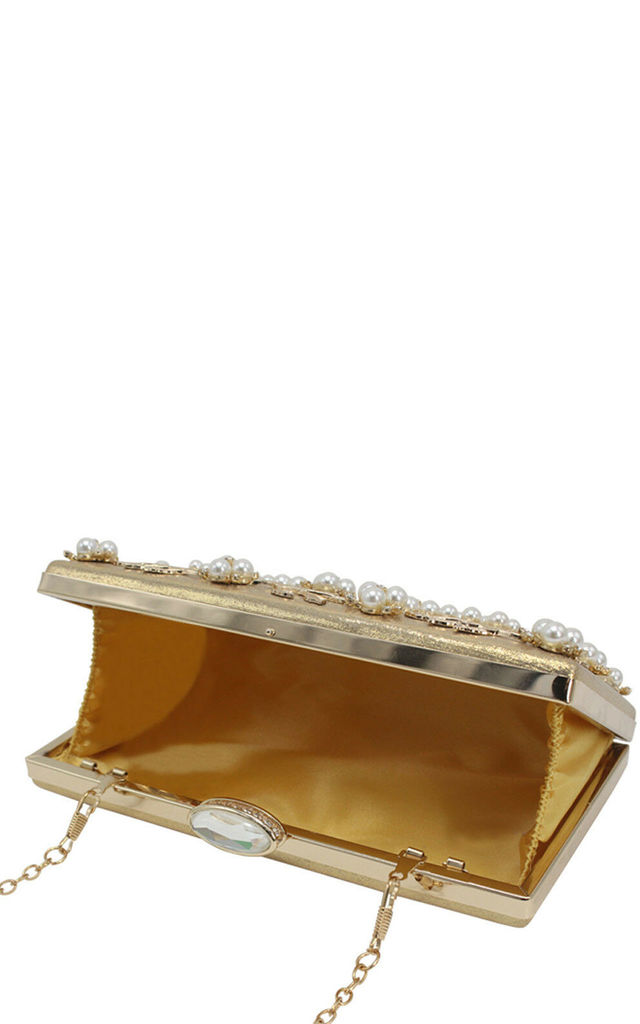 Golden Pearl metallic evening prom bridal clutch bag by Hello Handbag