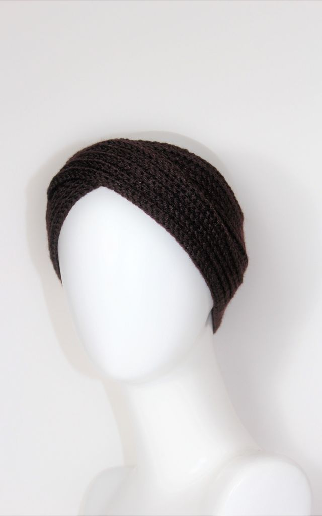 Cally chocolate brown wool turban headband by Kate Coleman