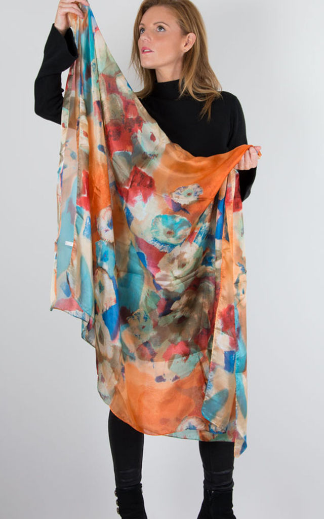Orange Silk Scarf Floral Print by number 37
