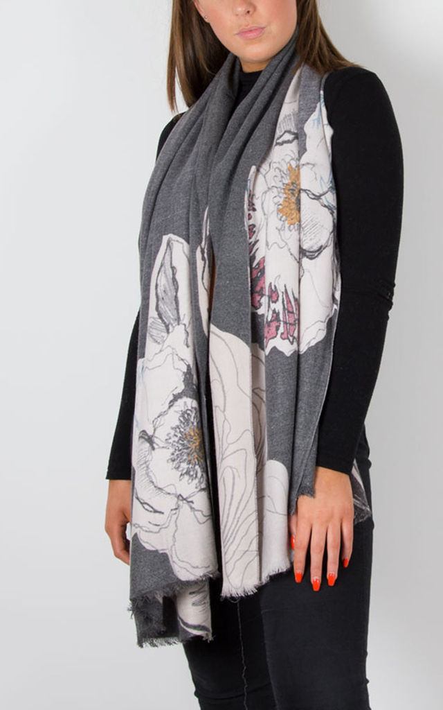 Cashmere Mix Scarf Grey Floral Print by number 37