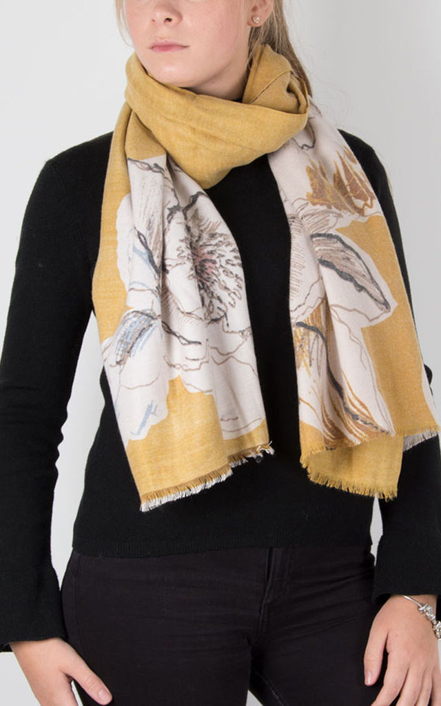 Cashmere Mix Scarf Mustard Floral Print by number 37